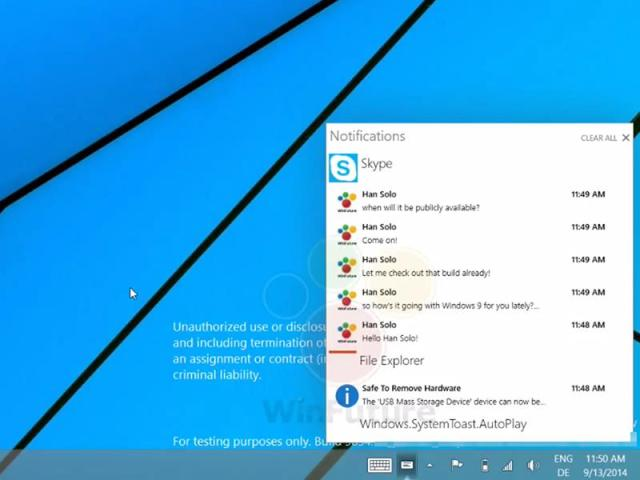 Here's What Windows 9 Notification Center Looks Like In Action [Video] | Redmond Pie